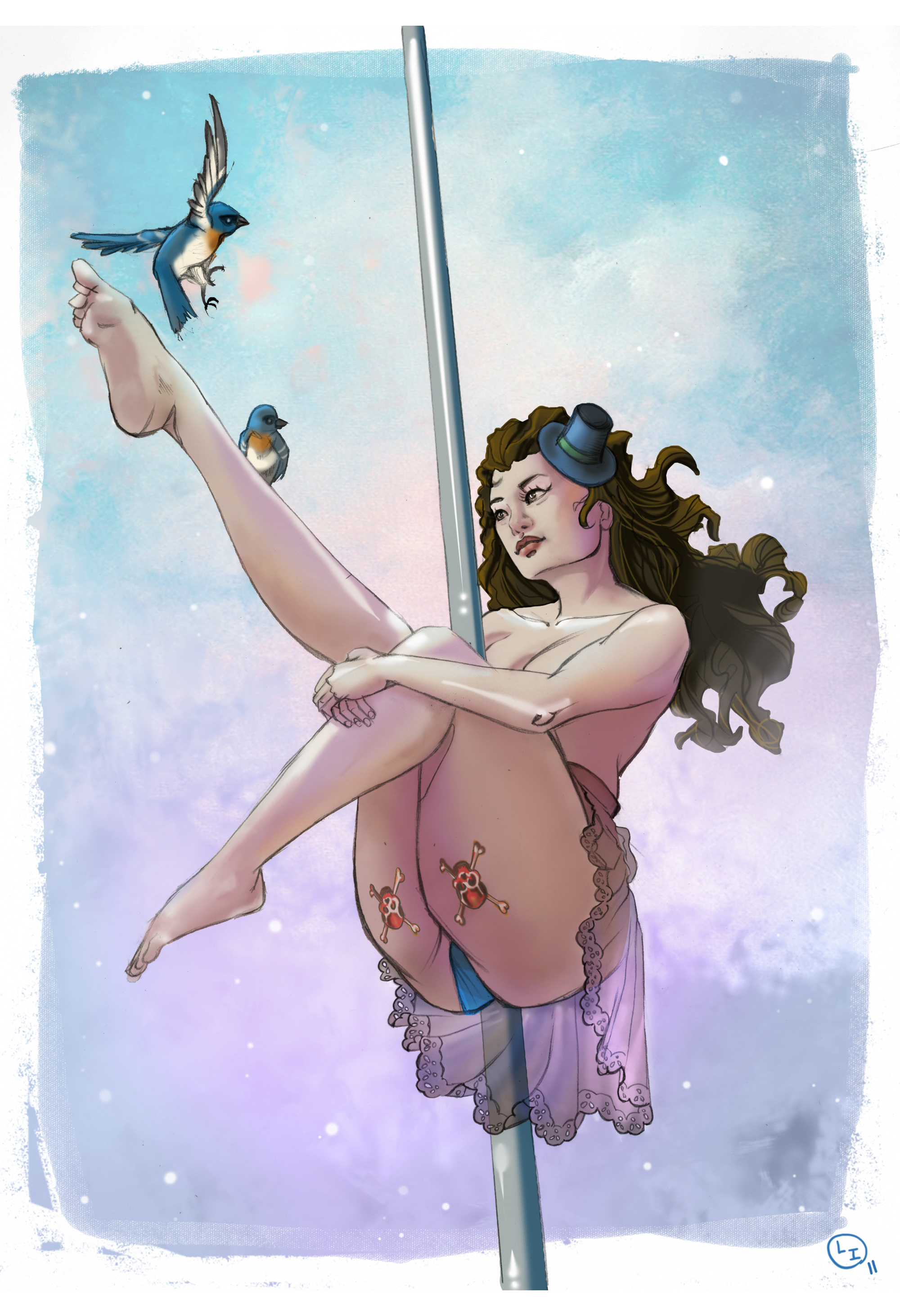 Pole Dance Illustration Drawing Nadia Sharif