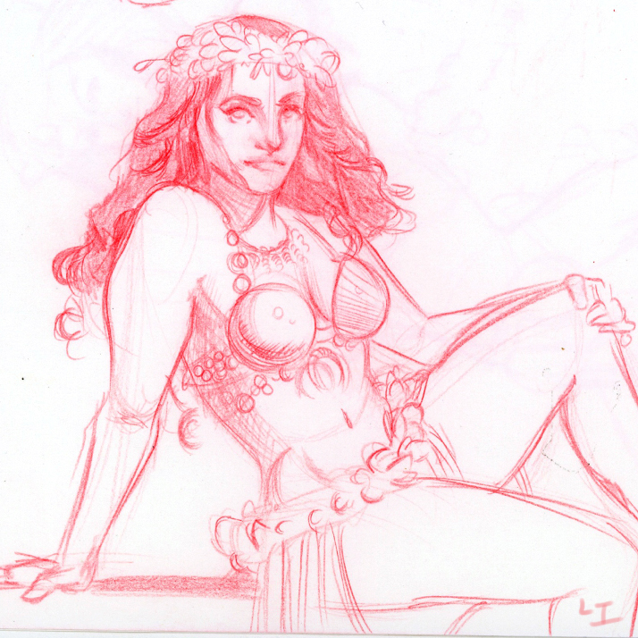 Tiki Hawaiian Girl Life Drawing
